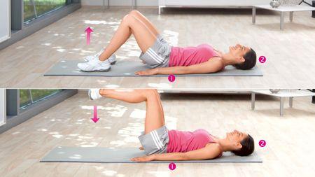 Beinheben: Übung zur Kräftigung der unteren Bauchmuskulatur und der Hüftbeuger