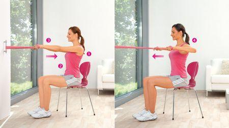 Schulterziehen: Übung zur Kräftigung der oberen Rücken und hinteren Schultermuskulatur