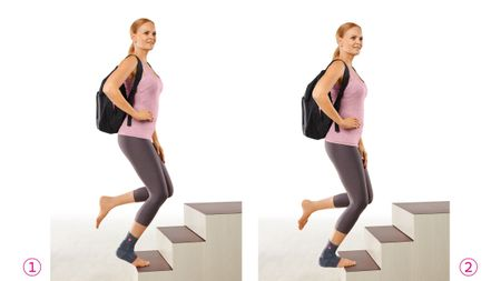 Physiotherapy programme for achillodynia with bent knees and a backpack