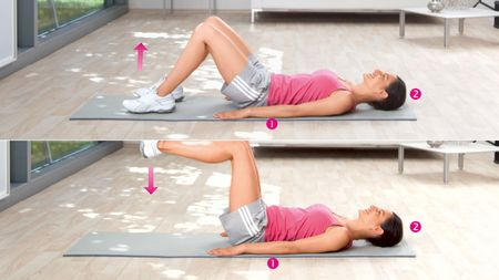 Leg lifts: Exercise to strengthen the lower abdominal muscles and the hip flexors