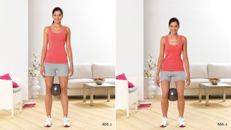 Knee bending exercises with a ball