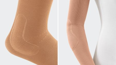 Examples of prefabricated pads for the Levamed foot support and the Epicomed elbow support