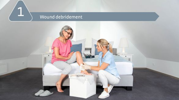 medi Therapy Concept Leg Ulcer: 1. Wound debridement