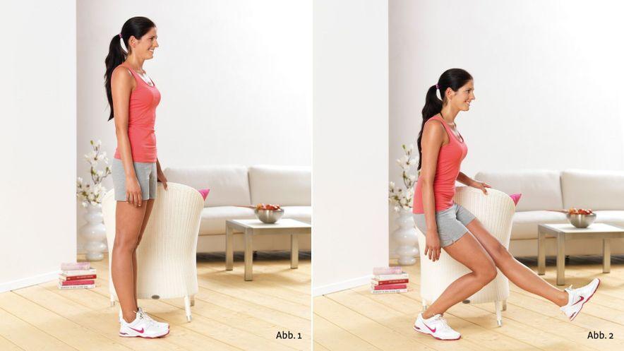 Physioübung Einbein-Kniebeugen