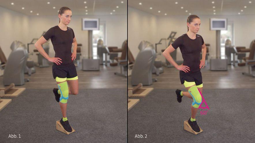 Physioübung Einbein-Kniebeugen mit Schrägbrett