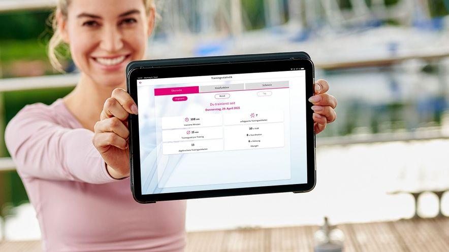 Blick in die Trainingsstatistik der DiGA App companion patella von medi