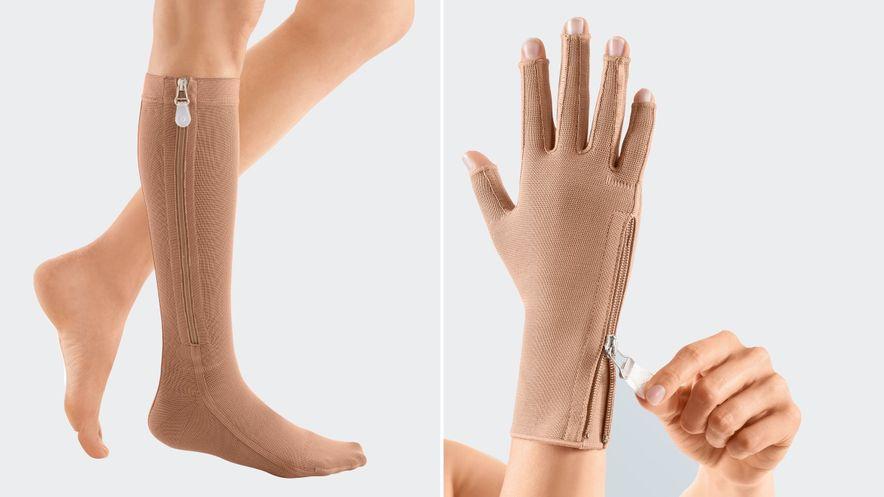 Bein-Kompressionsstrumpf und Handteil mit Reißverschluss