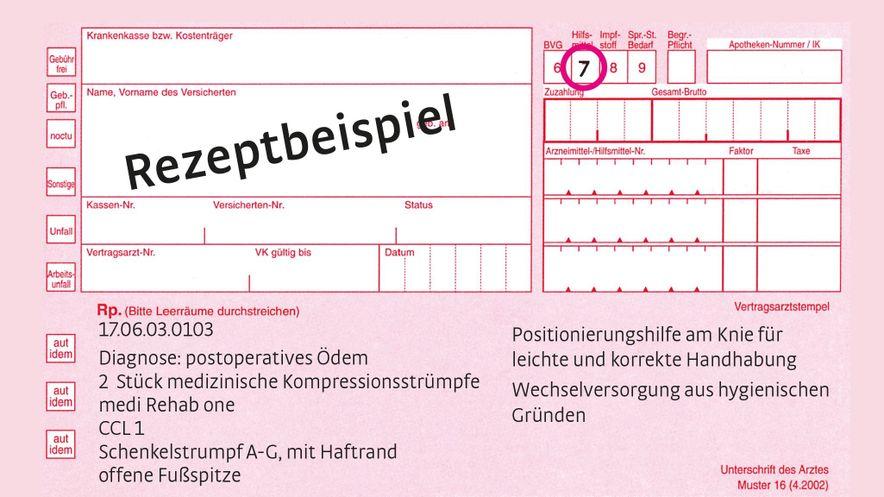Rezeptbeispiel Postoperatives Ödem Rehab one