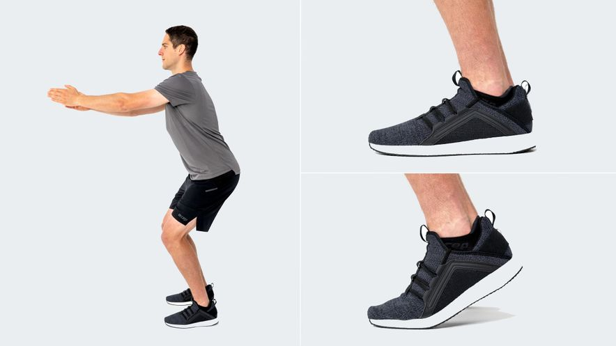Exercise for heel spur: half-squat heel lift