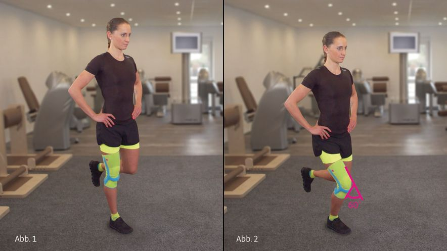 Physiotherapy exercise knee bending with one leg