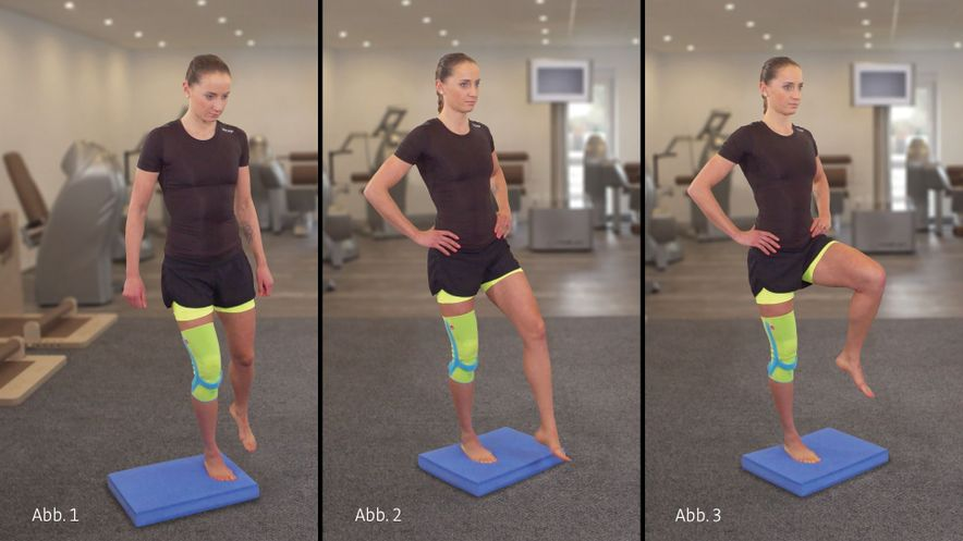 Physiotherapy exercise standing on one leg
