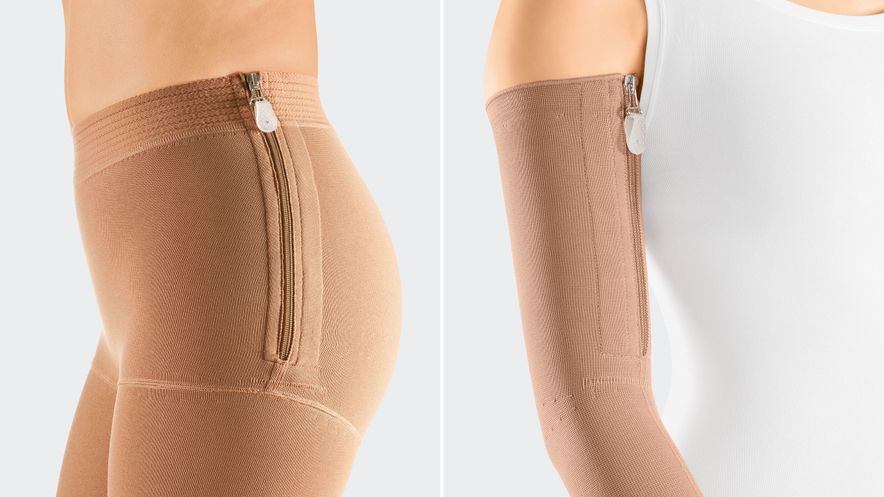 Examples of possible positioning for a trouser panty top and an arm sleeve.