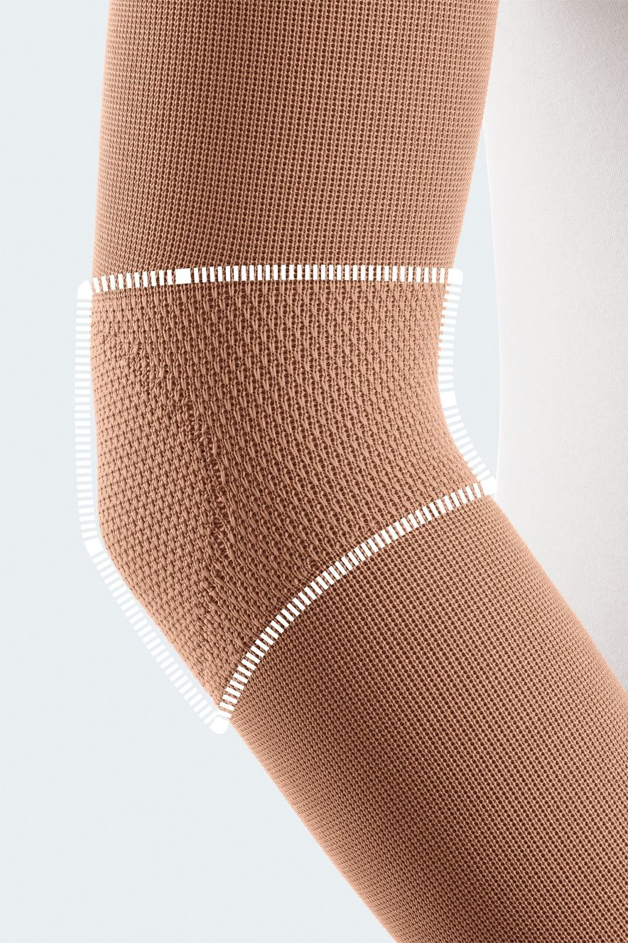 Compression stockings with flexure functional zone for the elbow