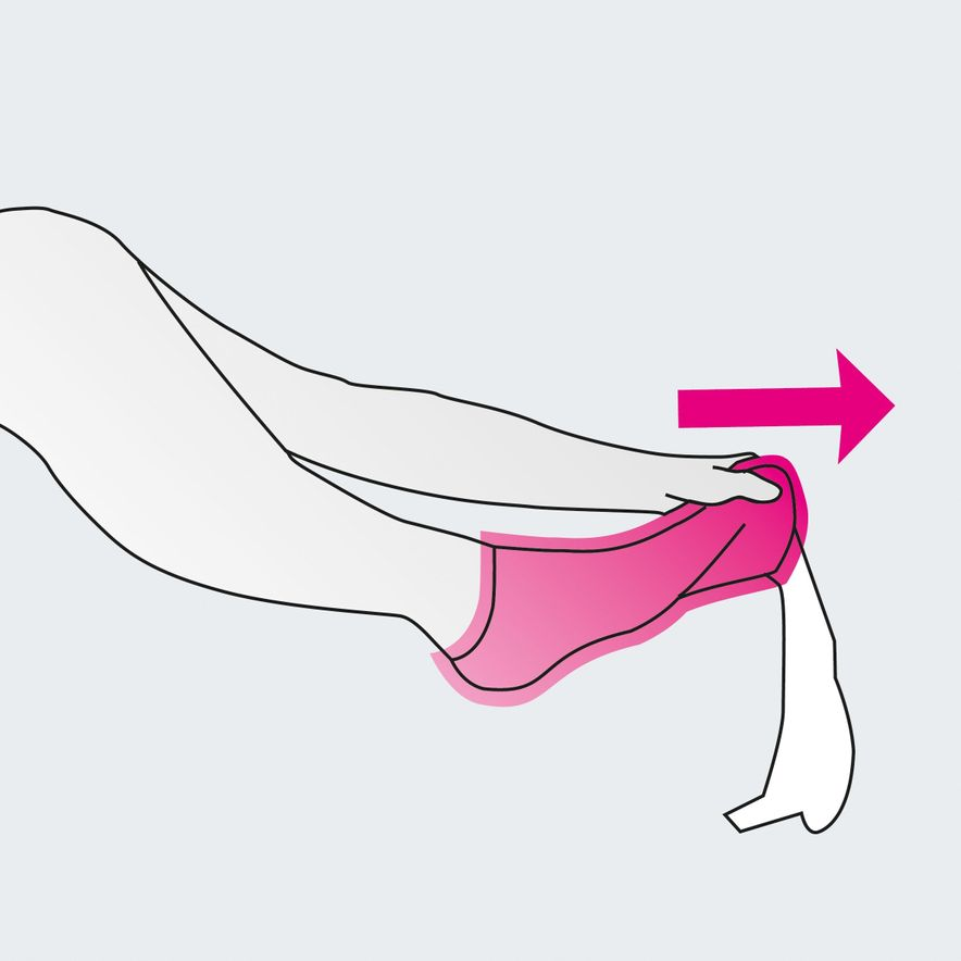Doffing compression stockings with medi 2in1, step 5