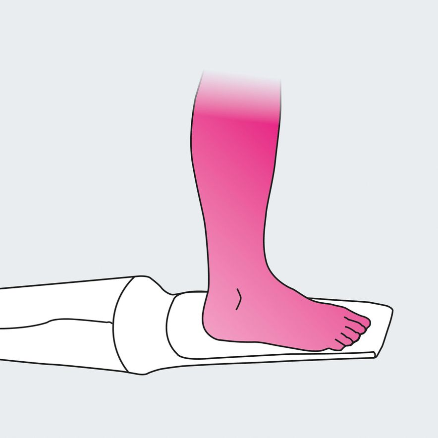 Donning compression stockings with medi 2in1, step 1