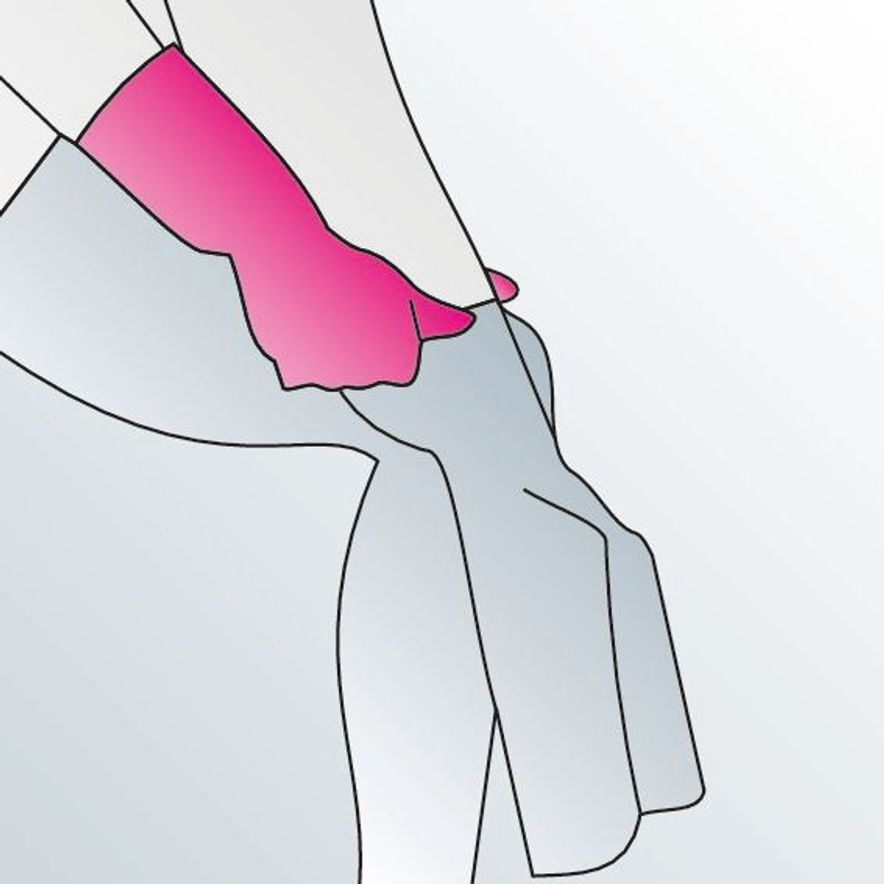 5. Lift the fabric up over your heel.