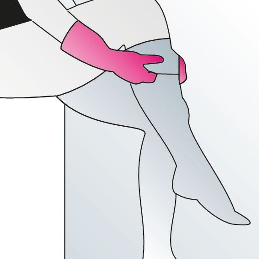 8. Now lift the fabric over the knee.