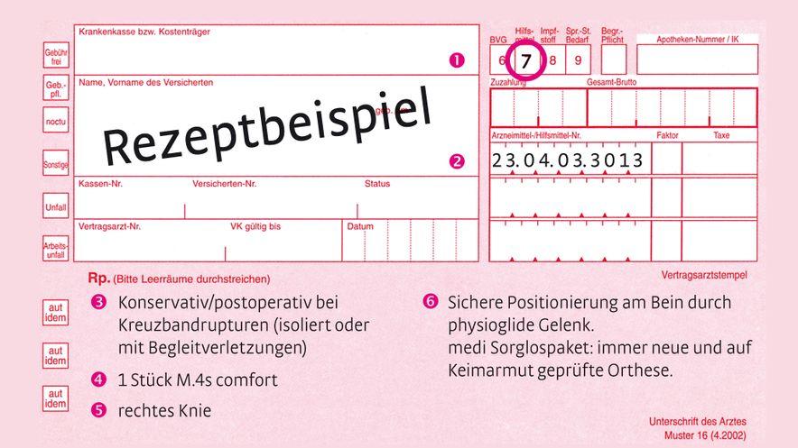 """Rezeptbeispiel für die Knieorthese M.4s comfort bei der Indikation """"Vordere Kreuzbandruptur"""""""