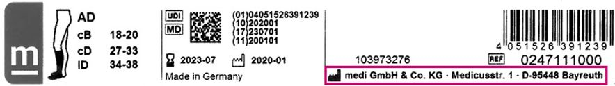 Etikett eines mediven elegance Strumpfes mit Fabriksymbol