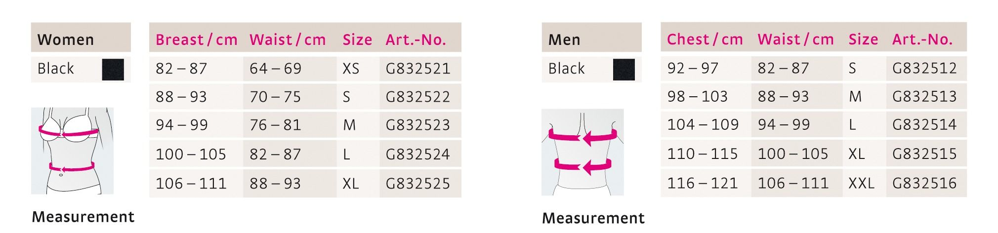 medi posture plus comfort size chart