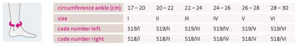 Size chart Levamed active UK