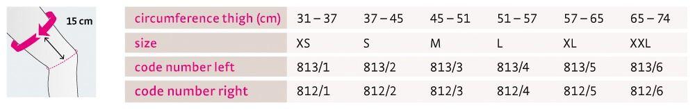 Size chart M 4s PCL dynamic UK