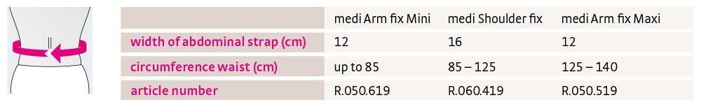 medi Shoulder fix size chart international