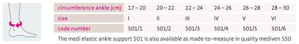 Size chart medi elastic ankle support 501 UK