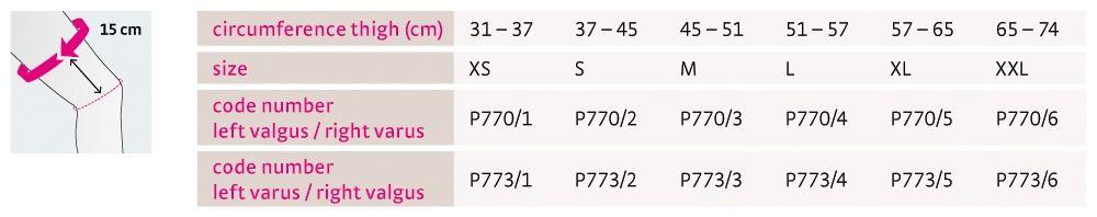 Size chart protect OA soft UK