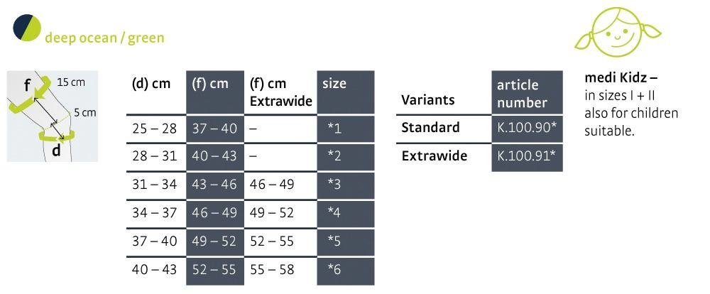 Size chart Genumedi Emotion english