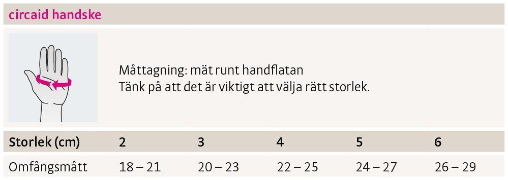 Size chart circaid glove sweden